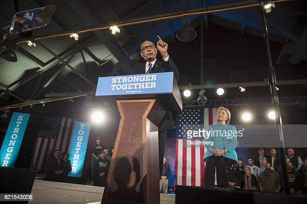 Khizr Khan father of slain US Army Captain Humayun Khan front speaks during a campaign rally for Hillary Clinton 2016 Democratic presidential nominee...