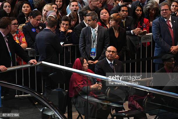 NEW Khizr Khan sits with his wife at the Javits Center in New York City the morning of November 9 2016 at 2 am just before John Podesta asked the...