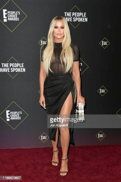 Khloé Kardashian attends the 2019 E People's Choice Awards at Barker Hangar on November 10 2019 in Santa Monica California