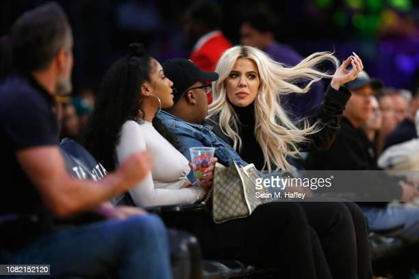 Khloé Kardashian looks on at an NBA game between the Cleveland Cavaliers and the Los Angeles Lakers during the second half of a game at Staples...