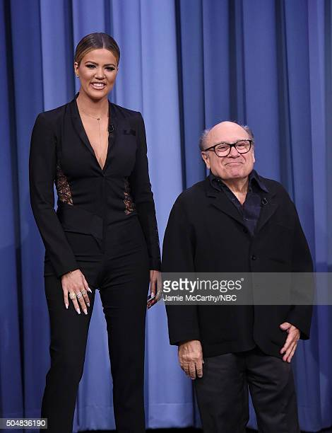 Khloe Kardashian and Danny Devito during a segment on 'The Tonight Show Starring Jimmy Fallon'at Rockefeller Center on January 13 2016 in New York...