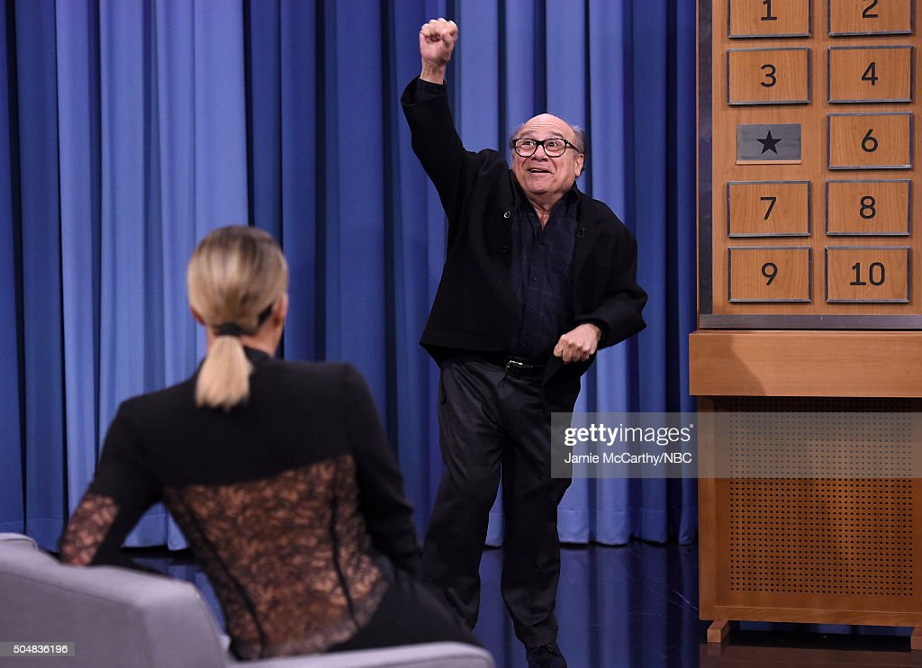 Khloe Kardashian and Danny Devito play charades during a segment on 'The Tonight Show Starring Jimmy Fallon'at Rockefeller Center on January 13, 2016 in New York City.