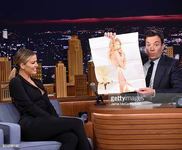 Khloe Kardashian and Jimmy Fallon during a segment on 'The Tonight Show Starring Jimmy Fallon'at Rockefeller Center on January 13 2016 in New York...