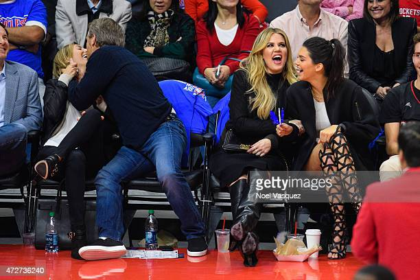 Khloe Kardashian and Kendall Jenner seen as Gunnar Peterson is put on kiss cam at a basketball game between the Houston Rockets and The Los Angeles...