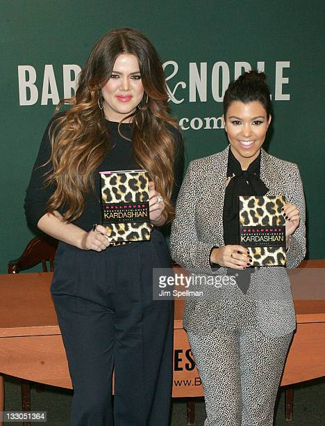 "Khloe Kardashian and Kourtney Kardashian promote ""Dollhouse"" at the Barnes & Noble, 5th Avenue on November 16, 2011 in New York City."