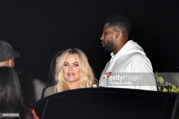 Khloe Kardashian and Tristan Thompson are seen at Nobu on July 09, 2018 in Los Angeles, California.