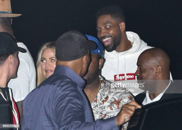Khloe Kardashian and Tristan Thompson are seen at Nobu on July 09 2018 in Los Angeles California