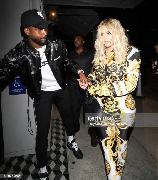 Khloe Kardashian and Tristan Thompson are seen on August 17 2018 in Los Angeles CA