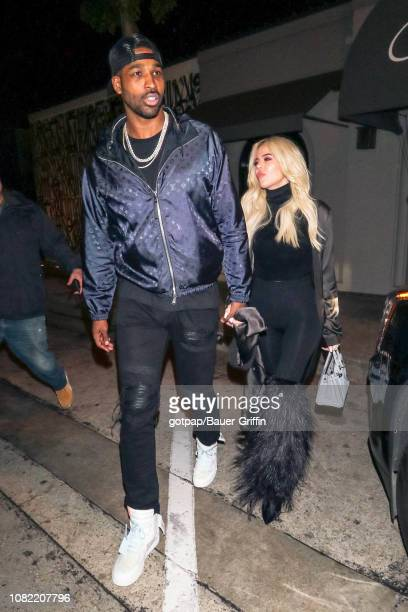 Khloe Kardashian and Tristan Thompson are seen on January 13 2019 in Los Angeles California