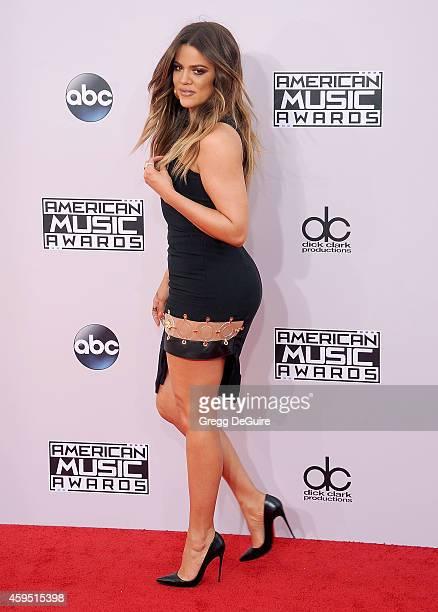 Khloe Kardashian arrives at the 2014 American Music Awards at Nokia Theatre LA Live on November 23 2014 in Los Angeles California