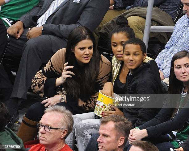 Khloe Kardashian attends a basketball game between the Boston Celtics and the Los Angeles Clippers at Staples Center on December 27 2012 in Los...