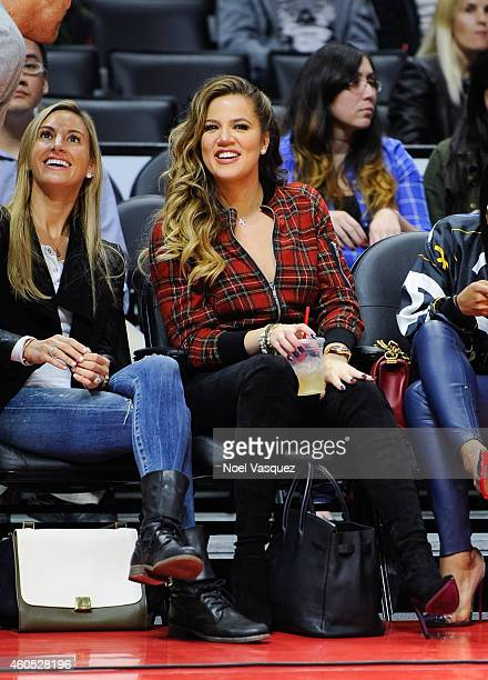 Khloe Kardashian attends a basketball game between the Detroit Pistons and the Los Angeles Clippers at Staples Center on December 15, 2014 in Los...