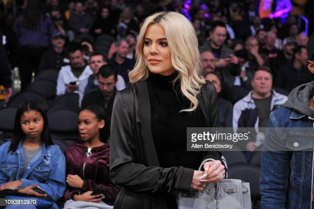 Khloe Kardashian attends a basketball game between the Los Angeles Lakers and the Cleveland Cavaliers at Staples Center on January 13, 2019 in Los...