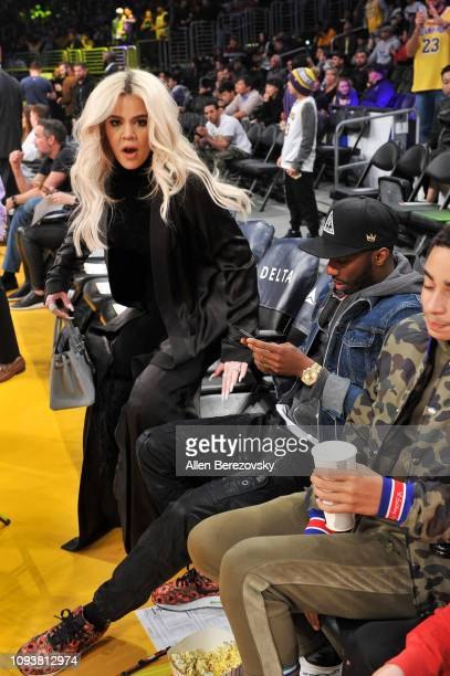 Khloe Kardashian attends a basketball game between the Los Angeles Lakers and the Cleveland Cavaliers at Staples Center on January 13 2019 in Los...