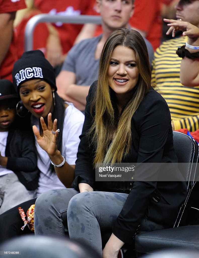 Khloe Kardashian attends a playoff basketball game between the Memphis Grizzlies and the Los Angeles Clippers at Staples Center on April 22, 2013 in Los Angeles, California.