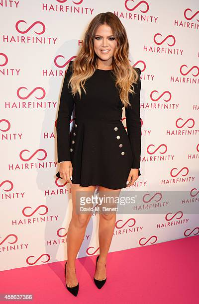 Khloe Kardashian attends the Hairfinity UK Launch with special guests Kim Kardashian West Khloe Kardashian at Il Bottaccio on November 8 2014 in...