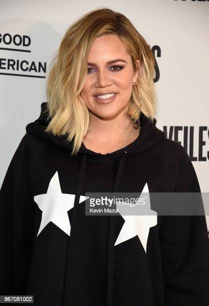 Khloe Kardashian attends the Khloe Kardashian Emma Grede Celebrate Good American PopUp in Collaboration with VFILES on October 26 2017 in New York...