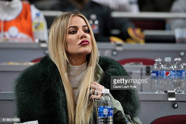 Khloe Kardashian attends the New York Knicks game against the Cleveland Cavaliers on October 25 2016 at Quicken Loans Arena in Cleveland Ohio NOTE TO...