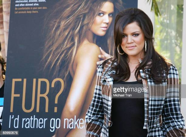 Khloe Kardashian attends the unveiling of PETA's new billboard of her held at Melrose Avenue and North Harper Avenue on December 10 2008 in Hollywood...