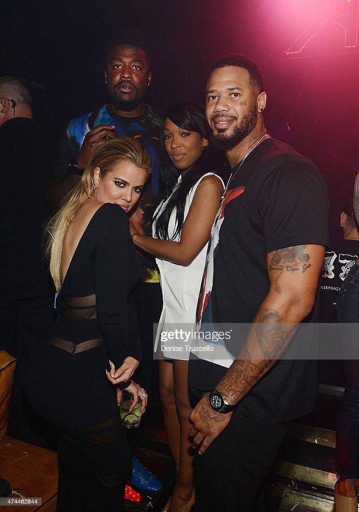 Khloe Kardashian, Brandon Bostick, Malika Haqq and Maurice Shaw attend 1 OAK Nightclub Las Vegas at the Mirage Hotel & Casino on May 22, 2015 in Las Vegas, Nevada.