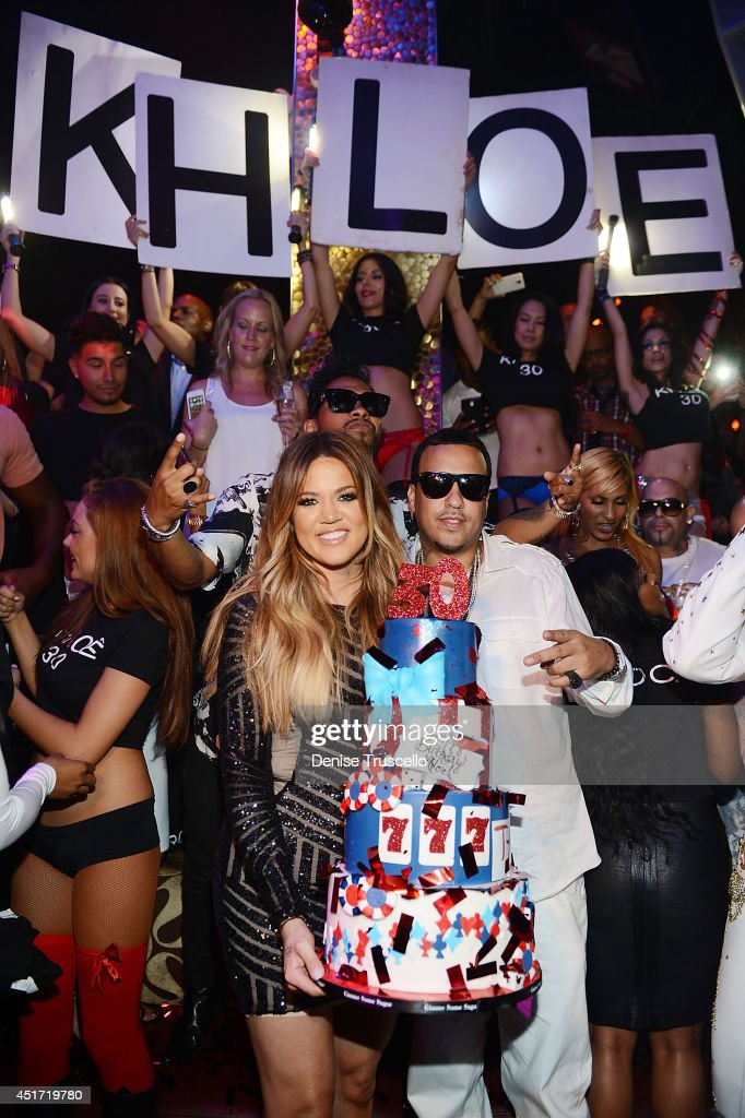 Khloe Kardashian (L) celebrates her 30th birthday with French Montana (R) at TAO Nightclub on July 4, 2014 in Las Vegas, Nevada.
