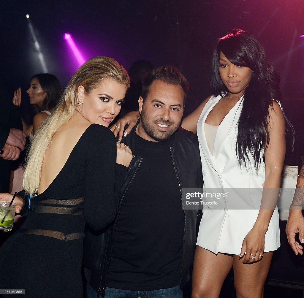 Khloe Kardashian, Eli Pacino and Malika Haqq attend 1 OAK Nightclub Las Vegas at the Mirage Hotel & Casino on May 22, 2015 in Las Vegas, Nevada.