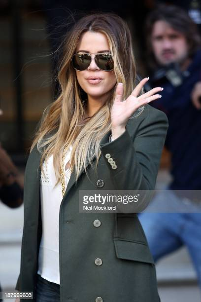 Khloe Kardashian is pictured arriving at The Langham Hotel to launch the Kardashian clothing line with Lipsy on November 14, 2013 in London, England.