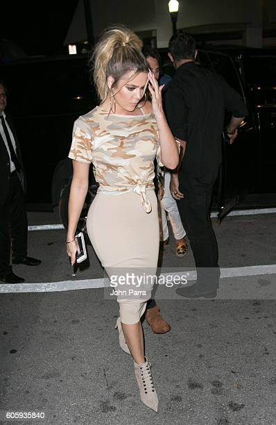 Khloe Kardashian is seen arriving to Prime 112 steakhouse on September 15 2016 in Miami Beach Florida