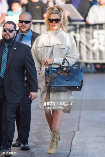 Khloe Kardashian is seen at 'Jimmy Kimmel Live' on January 04 2018 in Los Angeles California