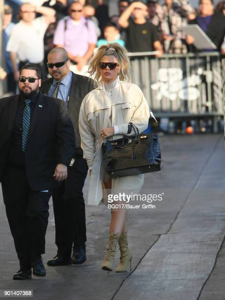 Khloe Kardashian is seen at 'Jimmy Kimmel Live' on January 04 2018 in Los Angeles California