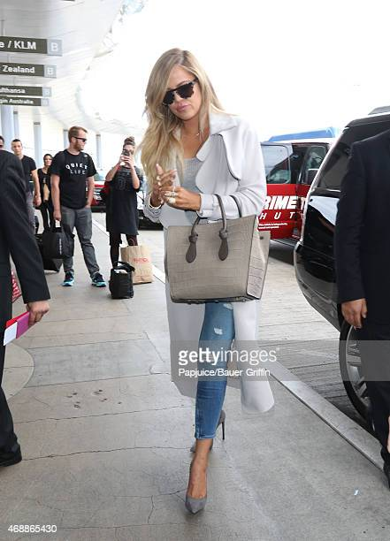 Khloe Kardashian is seen at LAX on April 07 2015 in Los Angeles California