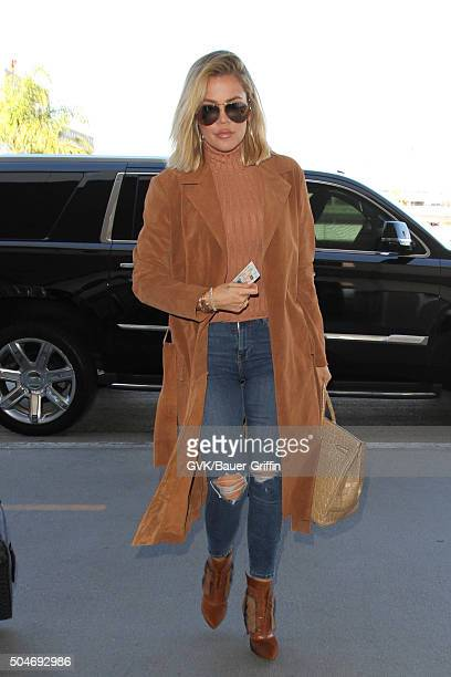 Khloe Kardashian is seen at LAX on January 12 2016 in Los Angeles California