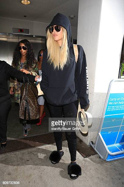 Khloe Kardashian is seen at LAX on September 22 2016 in Los Angeles California
