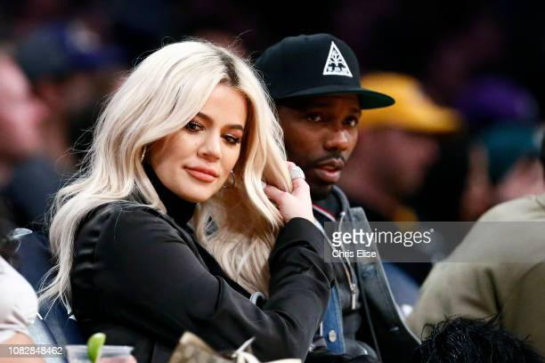Khloe Kardashian is seen at the game between the Los Angeles Lakers and the Cleveland Cavaliers on January 13 2019 at STAPLES Center in Los Angeles...