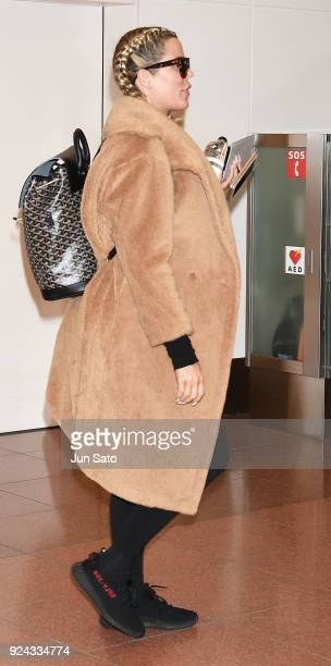 Khloe Kardashian is seen upon arrival at Haneda Airport on February 26 2018 in Tokyo Japan
