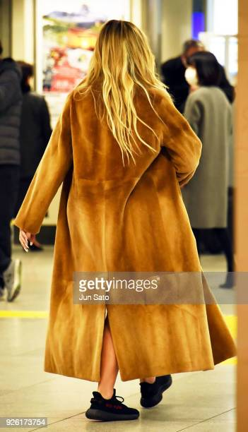 Khloe Kardashian is seen upon arrival at Tokyo Station on March 2 2018 in Tokyo Japan