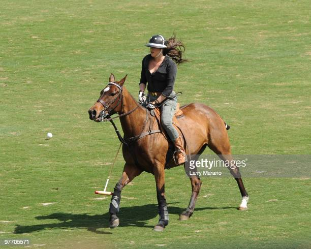 Khloe Kardashian is sighted riding a horse at Palm Beach International Polo Club on March 14 2010 in Wellington Florida
