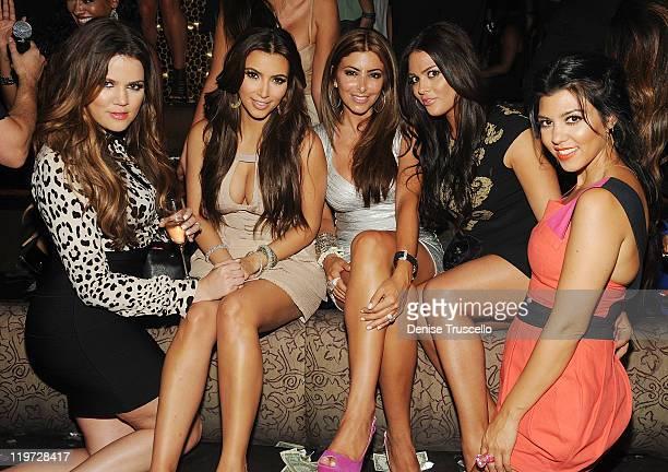 Khloe Kardashian Kim Kardashian Carla DiBello and Kourtney Kardashian celebrate Kim Kardashian's bachelorette party at TAO Nightclub at the Venetian...