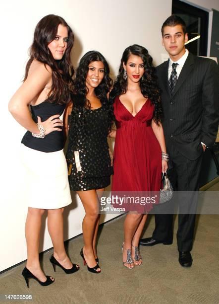 "Khloe Kardashian, Kourtney Kardashian, Kim Kardashian and Robert Kardashian at the ""Keeping Up With The Kardashians"" premiere party on October 9,..."