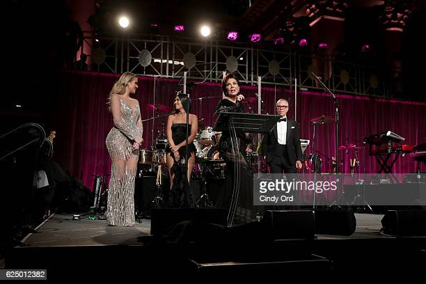 Khloe Kardashian Kourtney Kardashian Kris Jenner and Tommy Hilfiger onstage at the 2016 Angel Ball hosted by Gabrielle's Angel Foundation For Cancer...