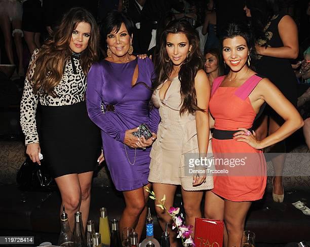 Khloe Kardashian Kris Jenner Kim Kardashian and Kourtney Kardashian celebrate Kim Kardashian's bachelorette party at TAO Nightclub at the Venetian on...