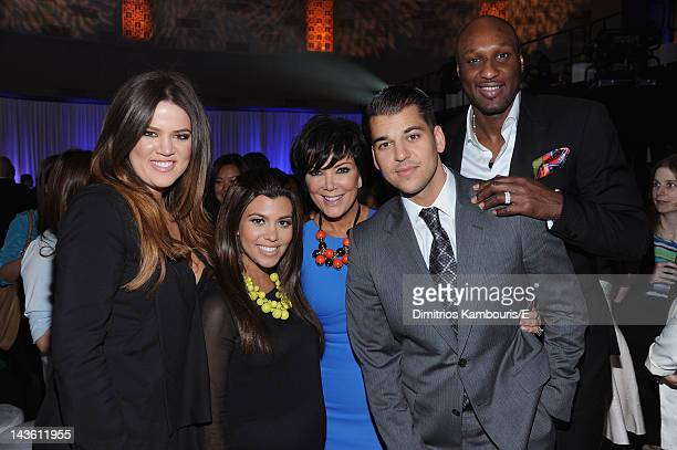 Khloe Kardashian Odom Kourtney Kardashian Kris Jenner Rob Kardashian and Lamar Odom of Keeping Up With The Kardashians attend E 2012 Upfront at NYC...