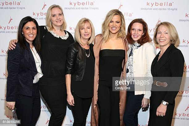 Khloe Kardashian poses with Fran DeSena Ember Garrett Colleen McKenna Kellie Lao and Jane Wolf at the launch of KYBELLA campaign at IAC Building on...