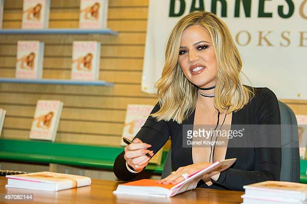 Khloe Kardashian signs and discusses her new book 'Strong Looks Better Naked' at Barnes Noble on November 13 2015 in San Diego California
