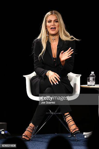 Khloe Kardashian speaks onstage during the Vonversation Liberty and Denim For All panel at Fortune MPW Next Gen 2016 on November 29 2016 in Dana...