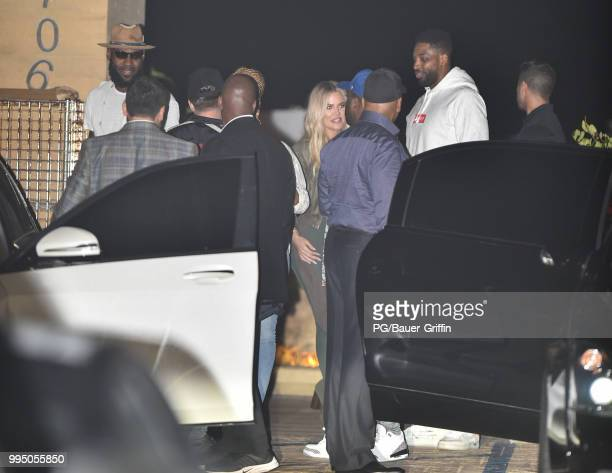 Khloe Kardashian Tristan Thompson LeBron James and Savannah Brinson are seen at Nobu on July 09 2018 in Los Angeles California