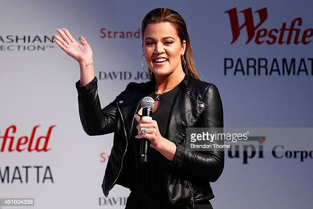 Khloe Kardashian waves to her fans during a Khloe Kardashian for Kardashian Kollection InStore Appearance and Signing at Westfield Parramatta on...