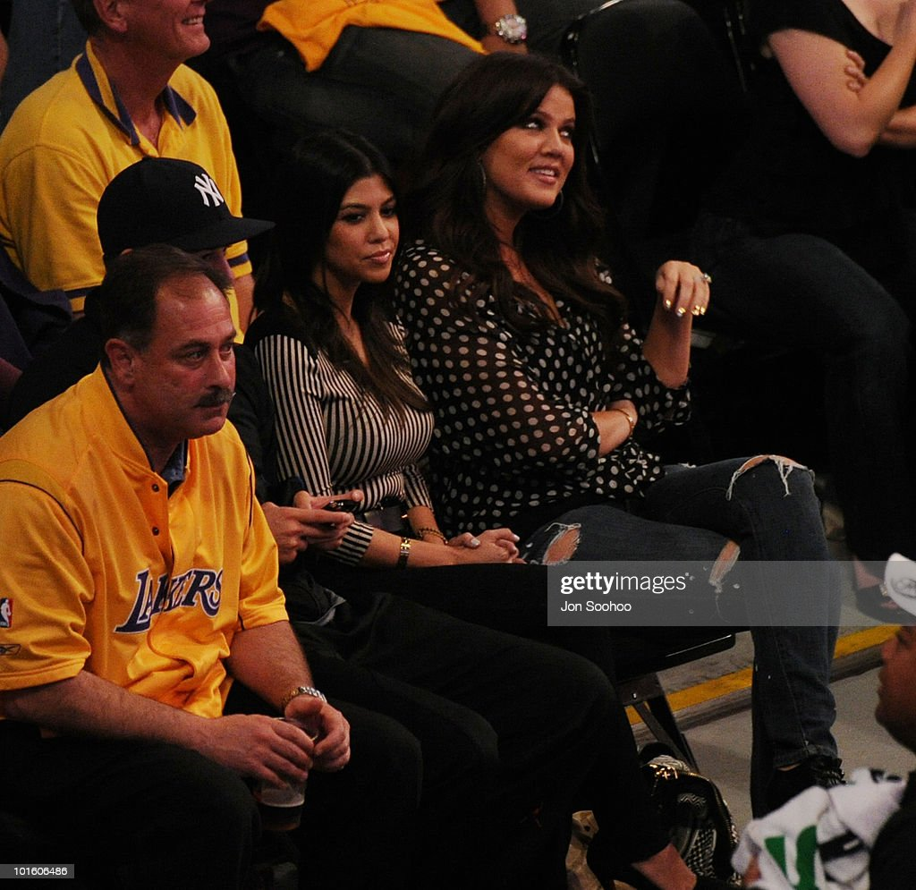 Khloe Kardashian-Odom and sister Kourtney Kardashian watch the Los Angeles Lakers take on the Boston Celtics in Game One of the 2010 NBA Finals on June 3, 2010 at Staples Center in Los Angeles, California.