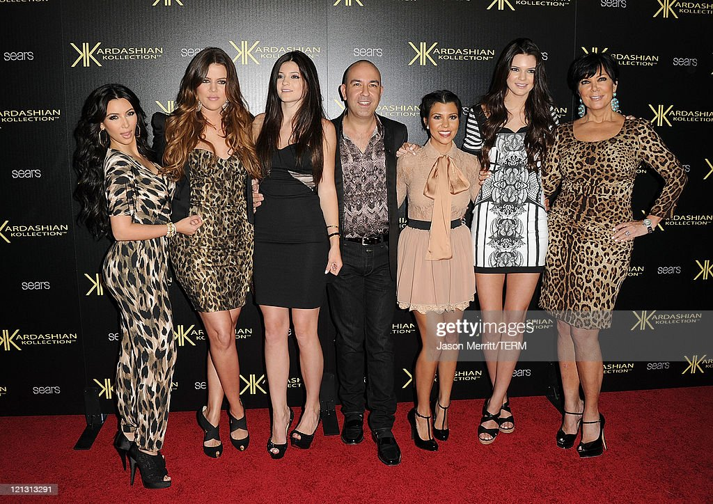 Khloe Kardasian, Kylie Jenner, Bruno Schiavi, Kris Kardashian, Kourtney Kardashian, Kim Kardashian, and Kendall Jenner attend the Kardashian Kollection Launch Party at The Colony on August 17, 2011 in Hollywood, California.
