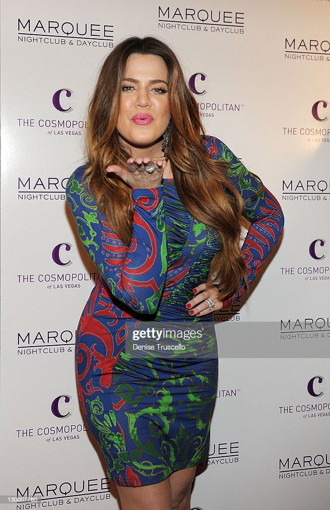 Khloe Krdashian arrives at Kim Kardashian's birthday Party at Marquee Nightclun at the Cosmopolitan on October 22, 2011 in Las Vegas, Nevada.
